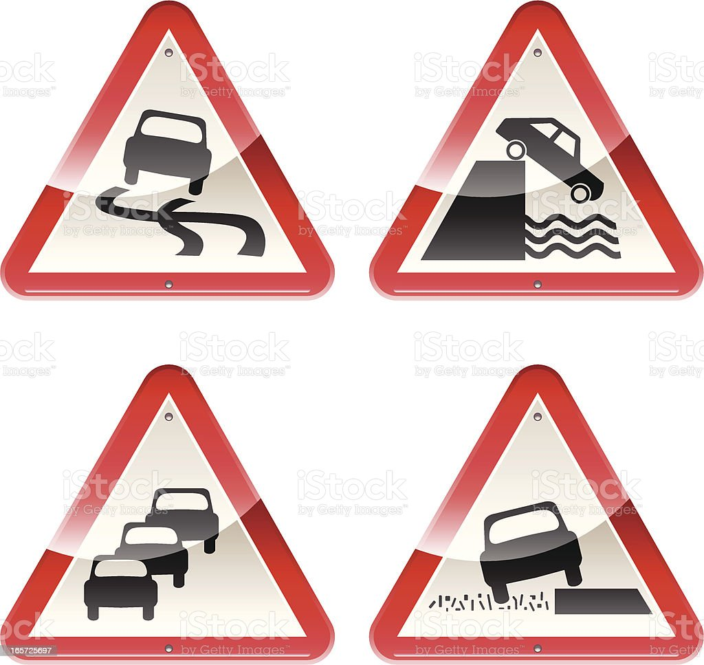 Glossy Signs: Caution Cars vector art illustration