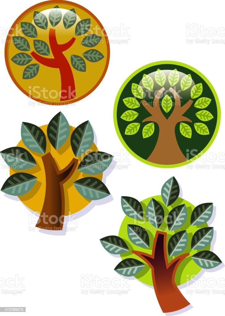 Glossy simple trees vector art illustration