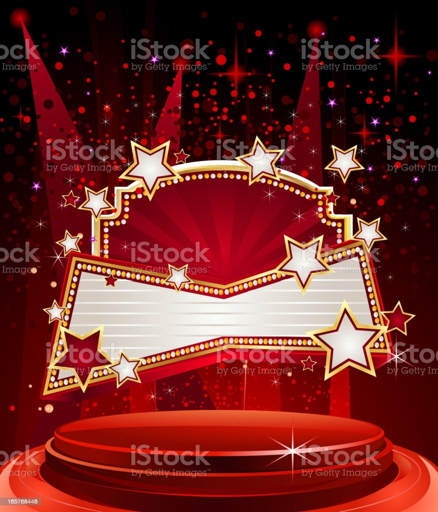 Glossy Stage with Marquee Display vector art illustration