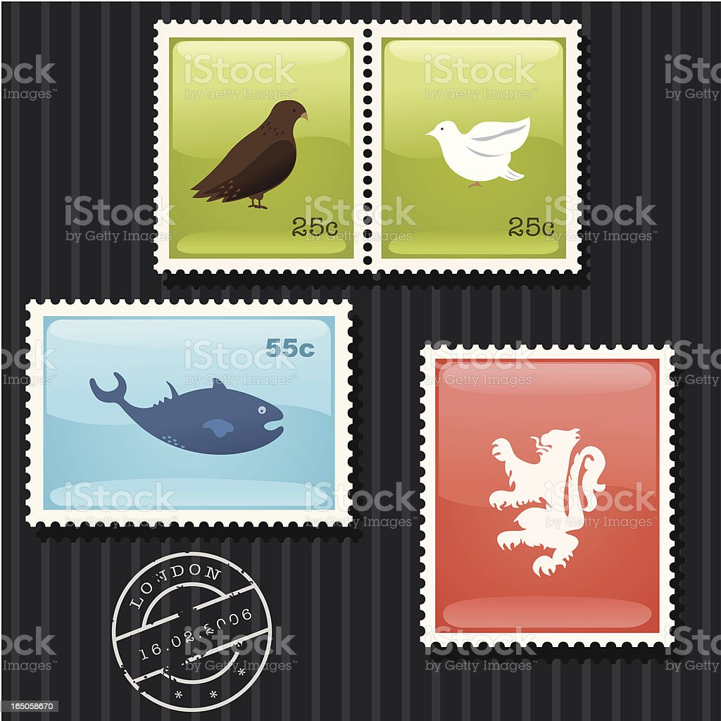 Glossy Stamp Set royalty-free stock vector art
