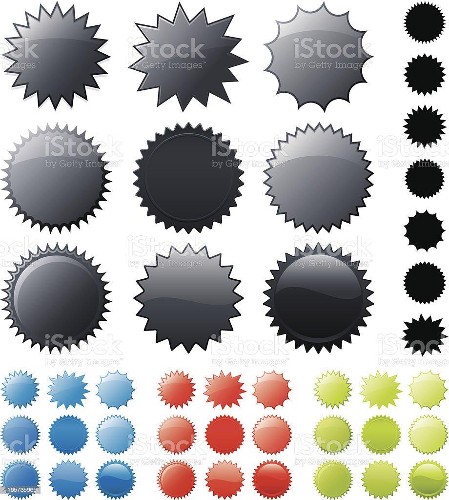 Glossy star burst stickers royalty-free stock vector art