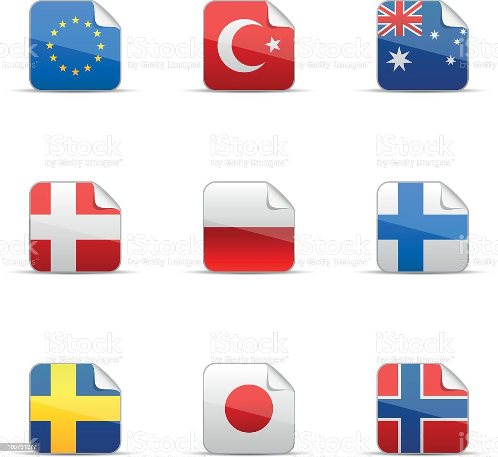 Glossy sticker of world flags collection royalty-free stock vector art