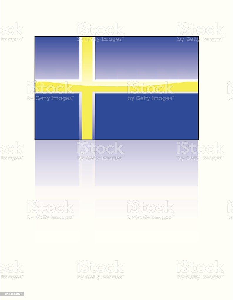 Glossy Swedish Flag royalty-free stock vector art
