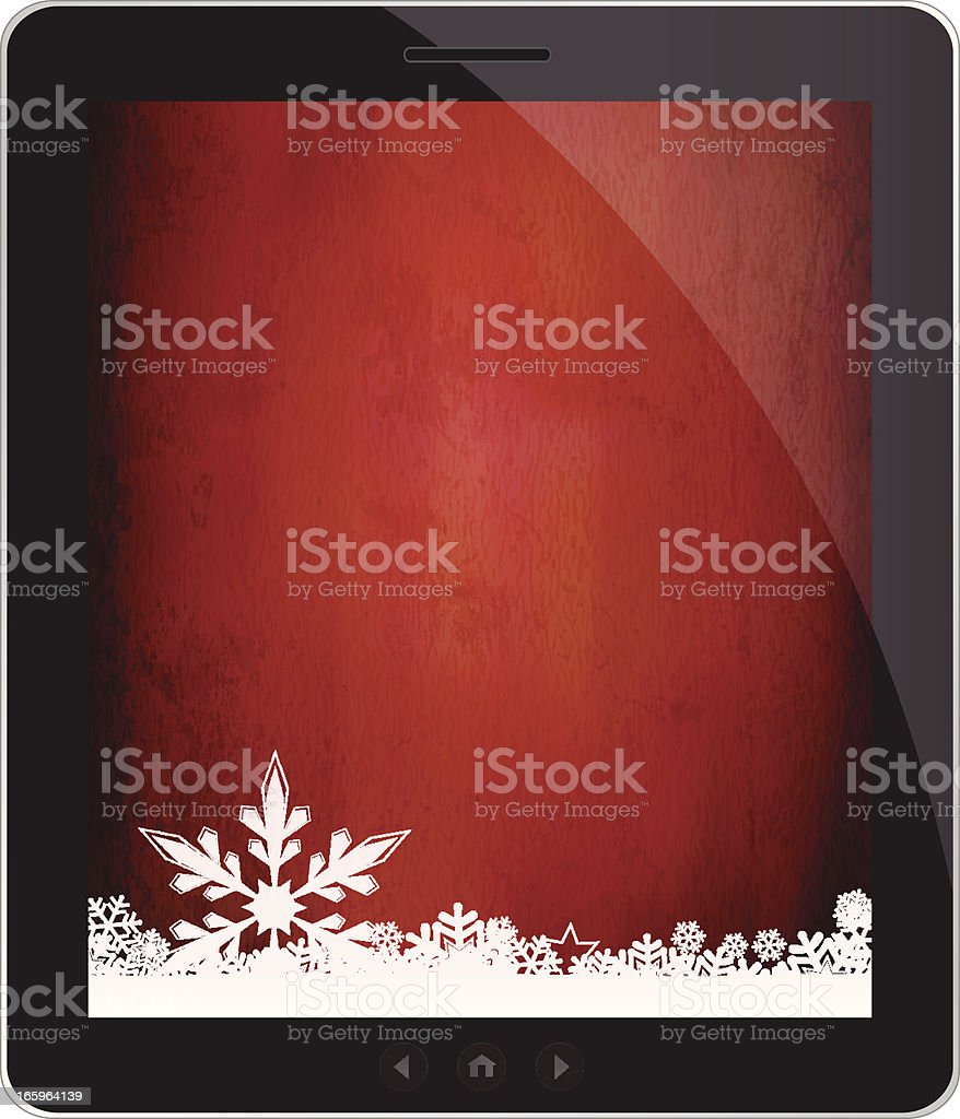 Glossy tablet with grungy snowflakes wallpaper royalty-free stock vector art