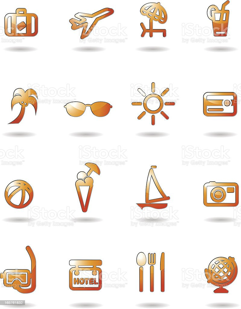 Glossy Vacation Travel Icons vector art illustration