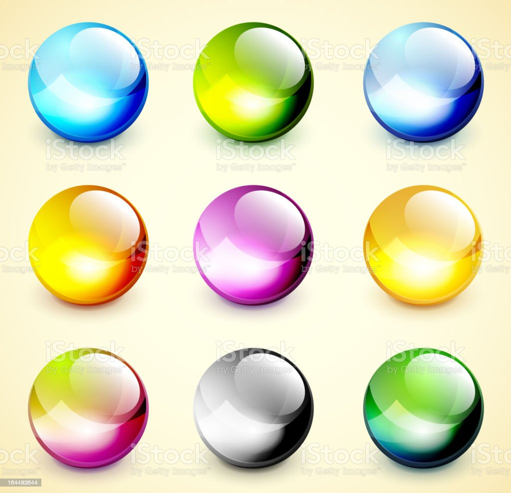 Glossy vector spheres vector art illustration