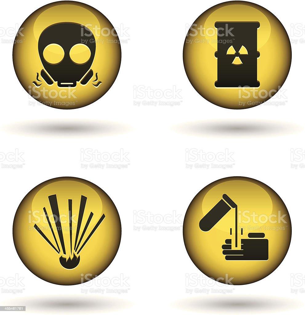 glossy warning balls vector art illustration