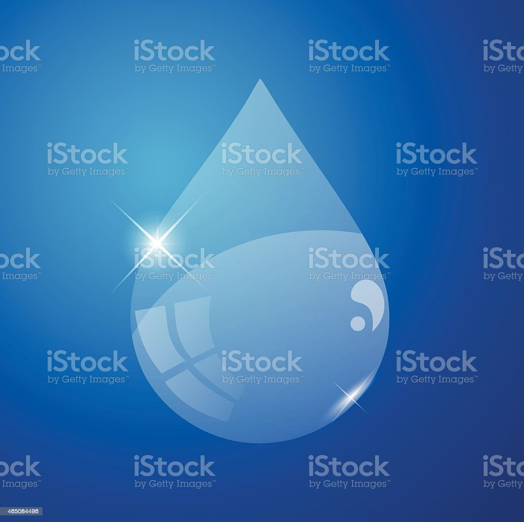 Glossy water drop on a blue background vector illustration vector art illustration