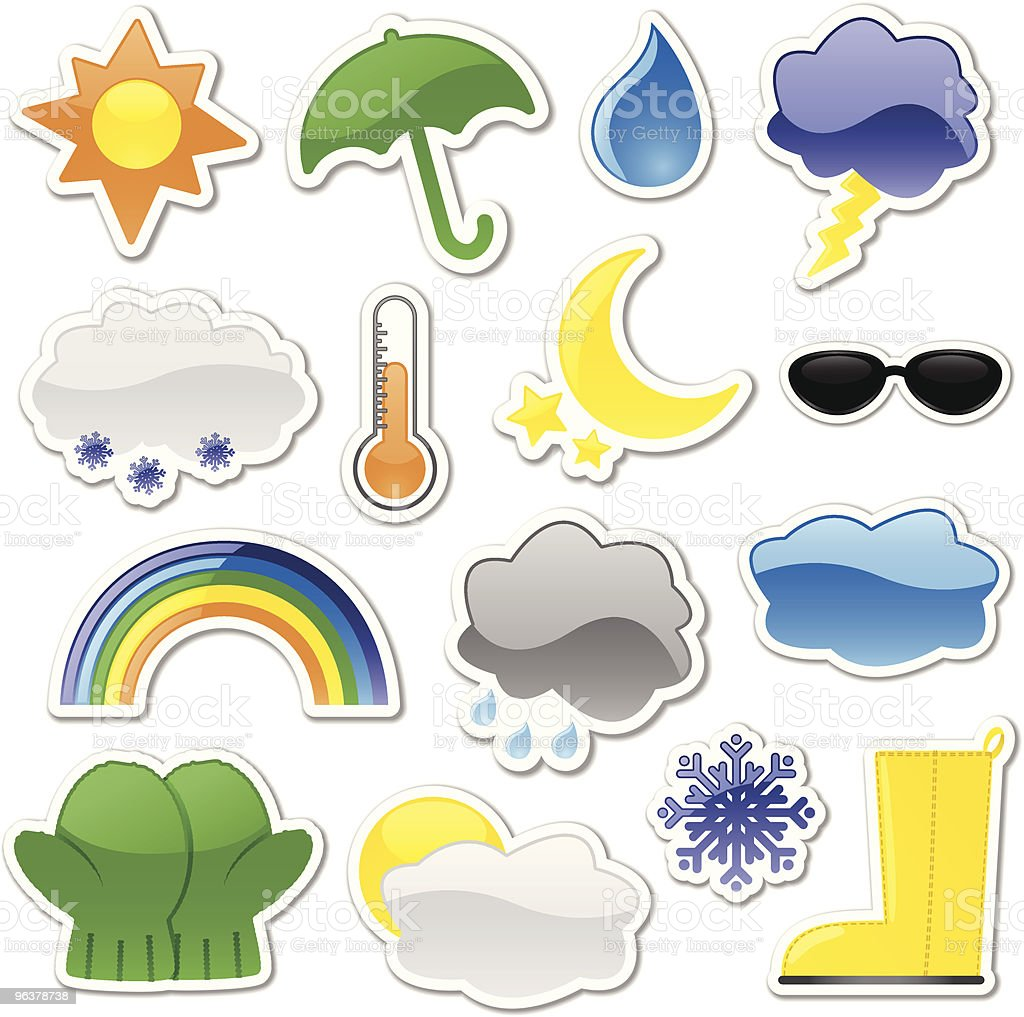 Glossy Weather Stickers royalty-free stock vector art