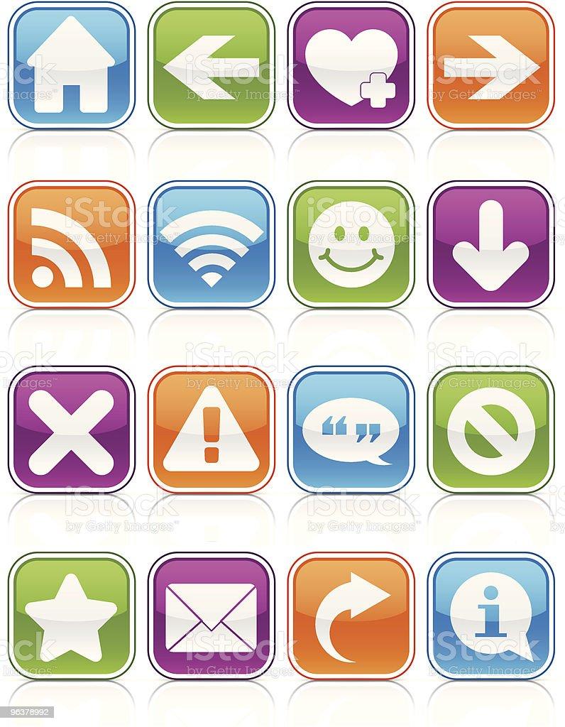Glossy Web Symbol Squares vector art illustration