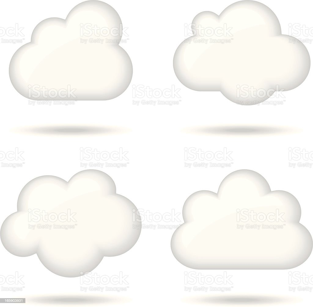 Glossy White Clouds vector art illustration