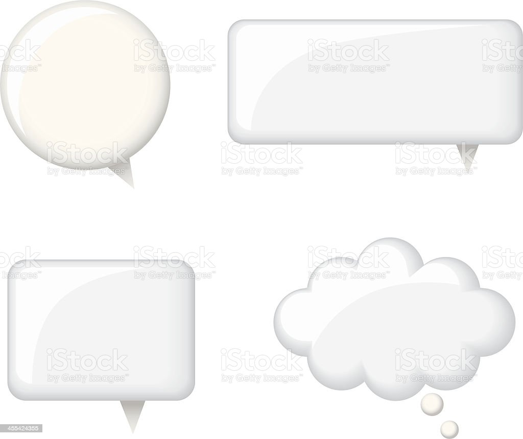 Glossy White Word Bubbles vector art illustration