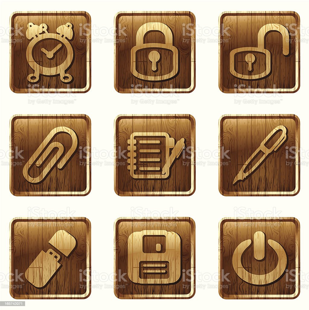 glossy wooden icons vol 05 royalty-free stock vector art