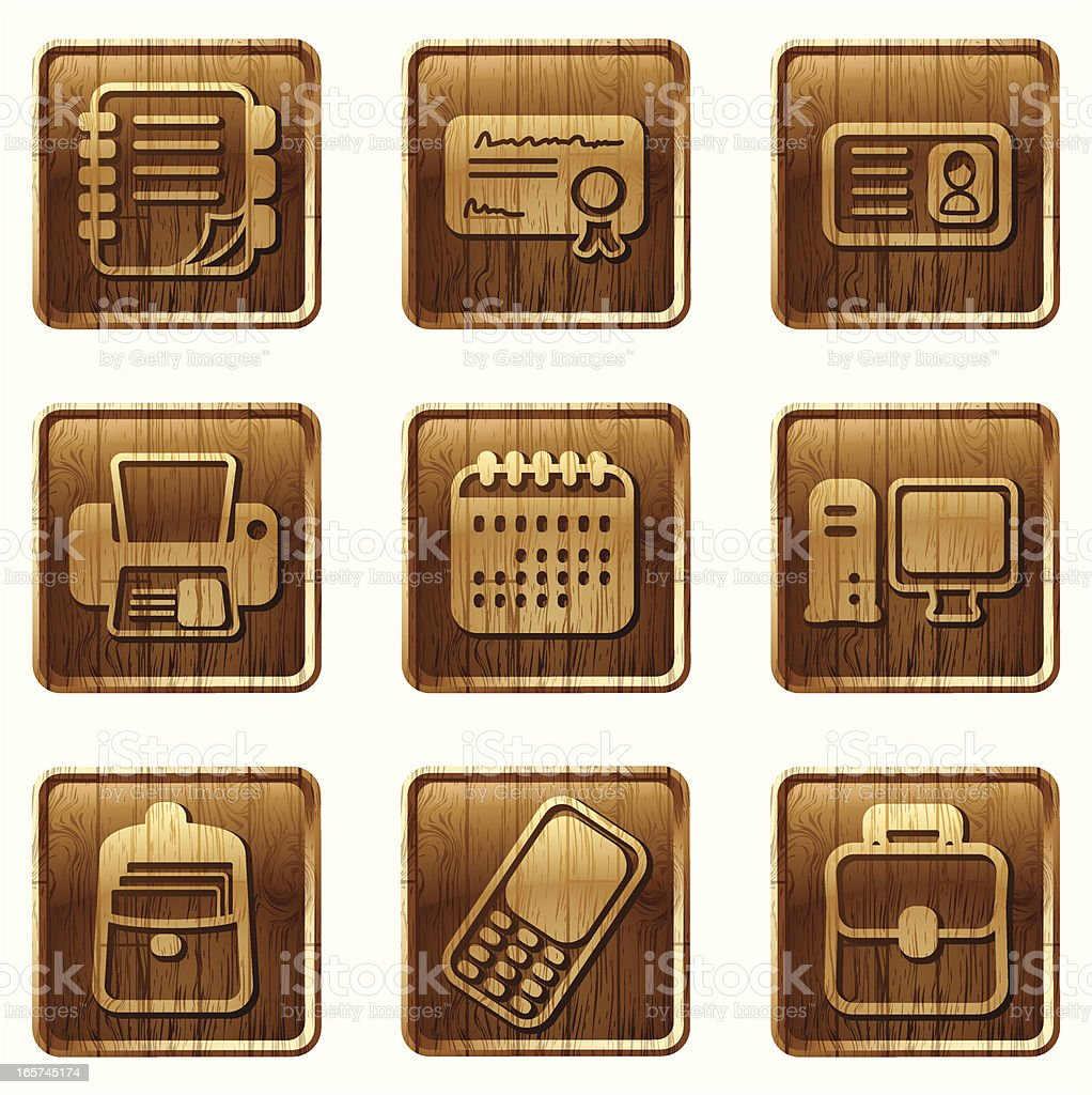 glossy wooden icons vol 10 royalty-free stock vector art