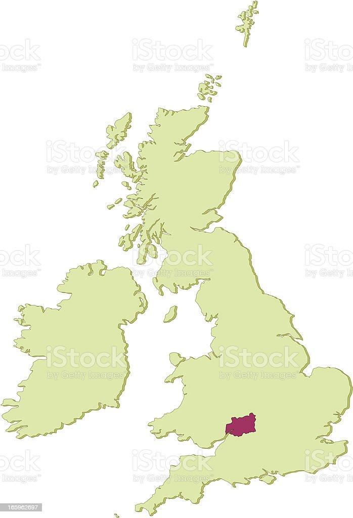 UK Gloucestershire map vector art illustration