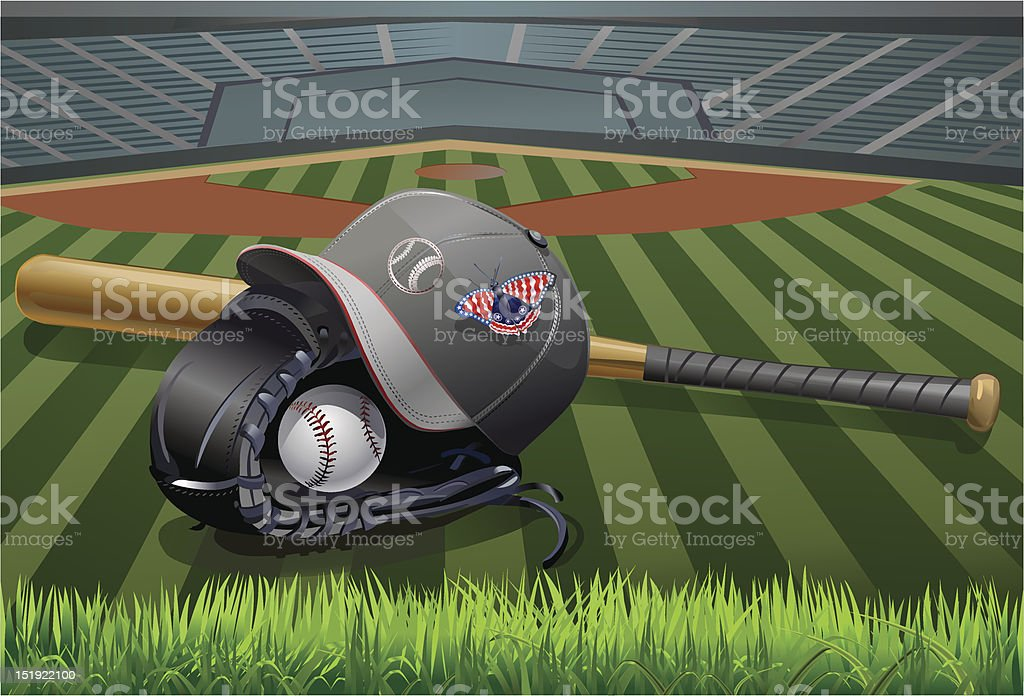 BASEBALL Glove and American butterfly royalty-free stock vector art