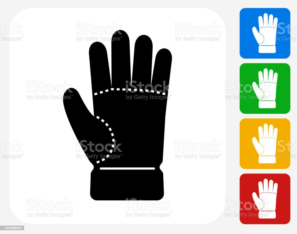 Glove Icon Flat Graphic Design vector art illustration