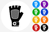 Glove Icon on Flat Color Circle Buttons