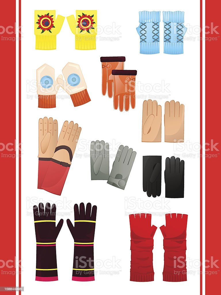 Gloves and mittens royalty-free stock vector art