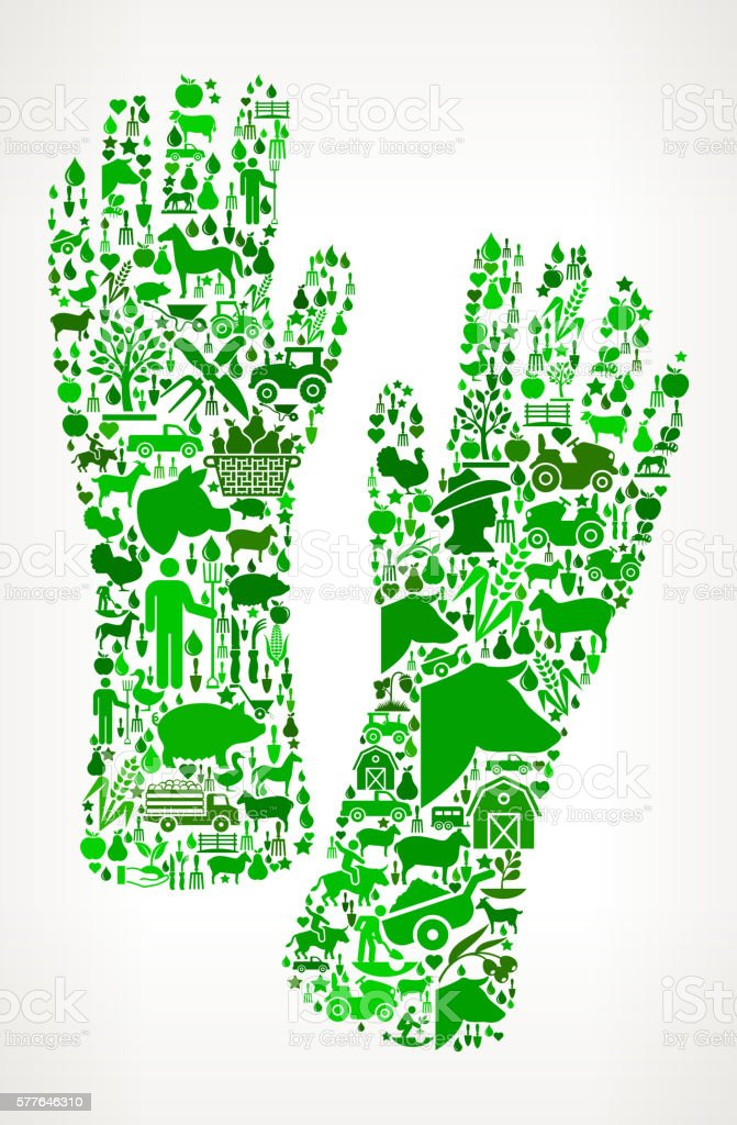 Gloves Farming and Agriculture Green Icon Pattern vector art illustration
