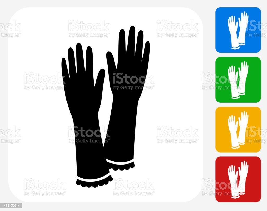 Gloves Icon Flat Graphic Design vector art illustration