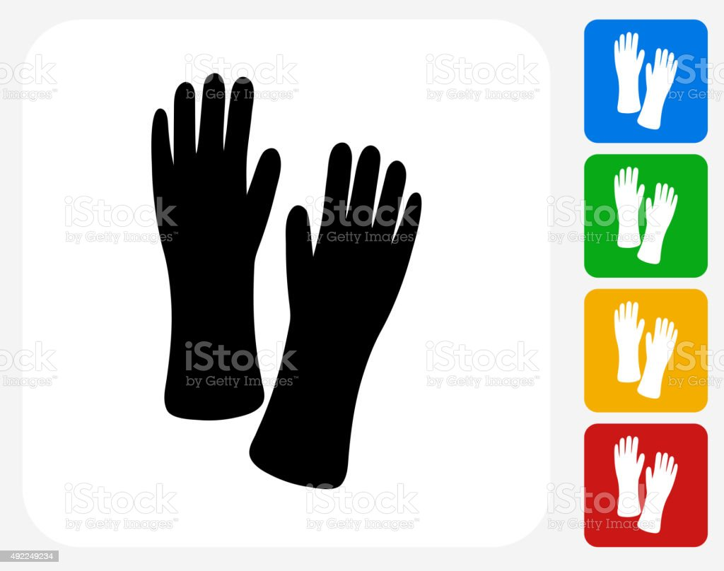 Gloves Icon Flat Graphic Design vector art illustration