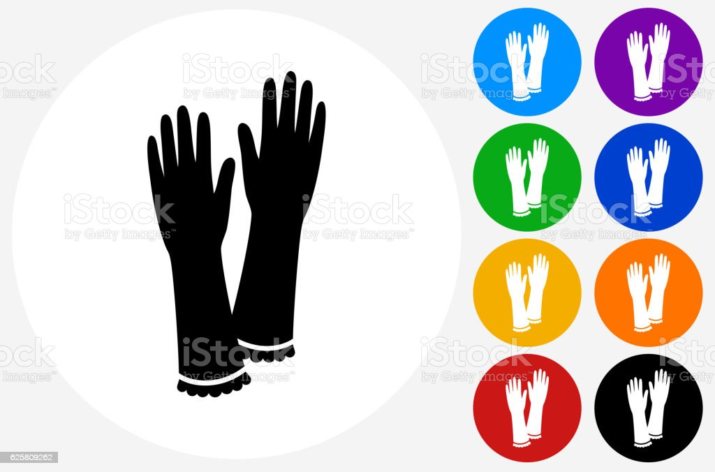 Gloves Icon on Flat Color Circle Buttons vector art illustration