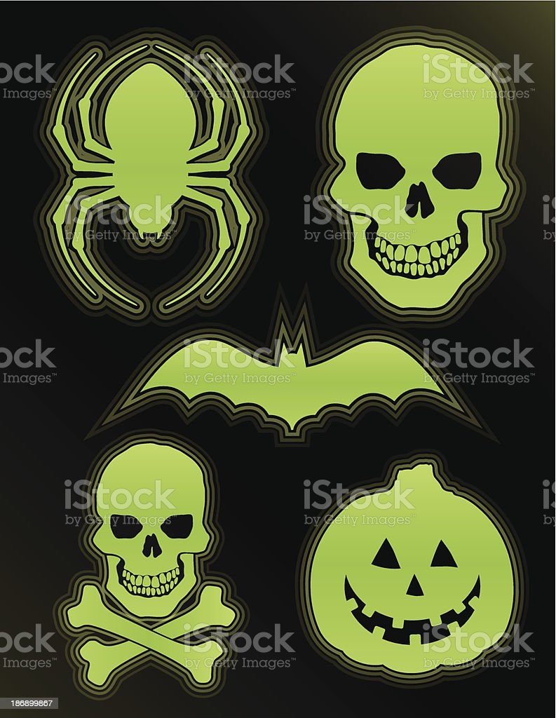 Glow in the Dark Halloween Icons royalty-free stock vector art
