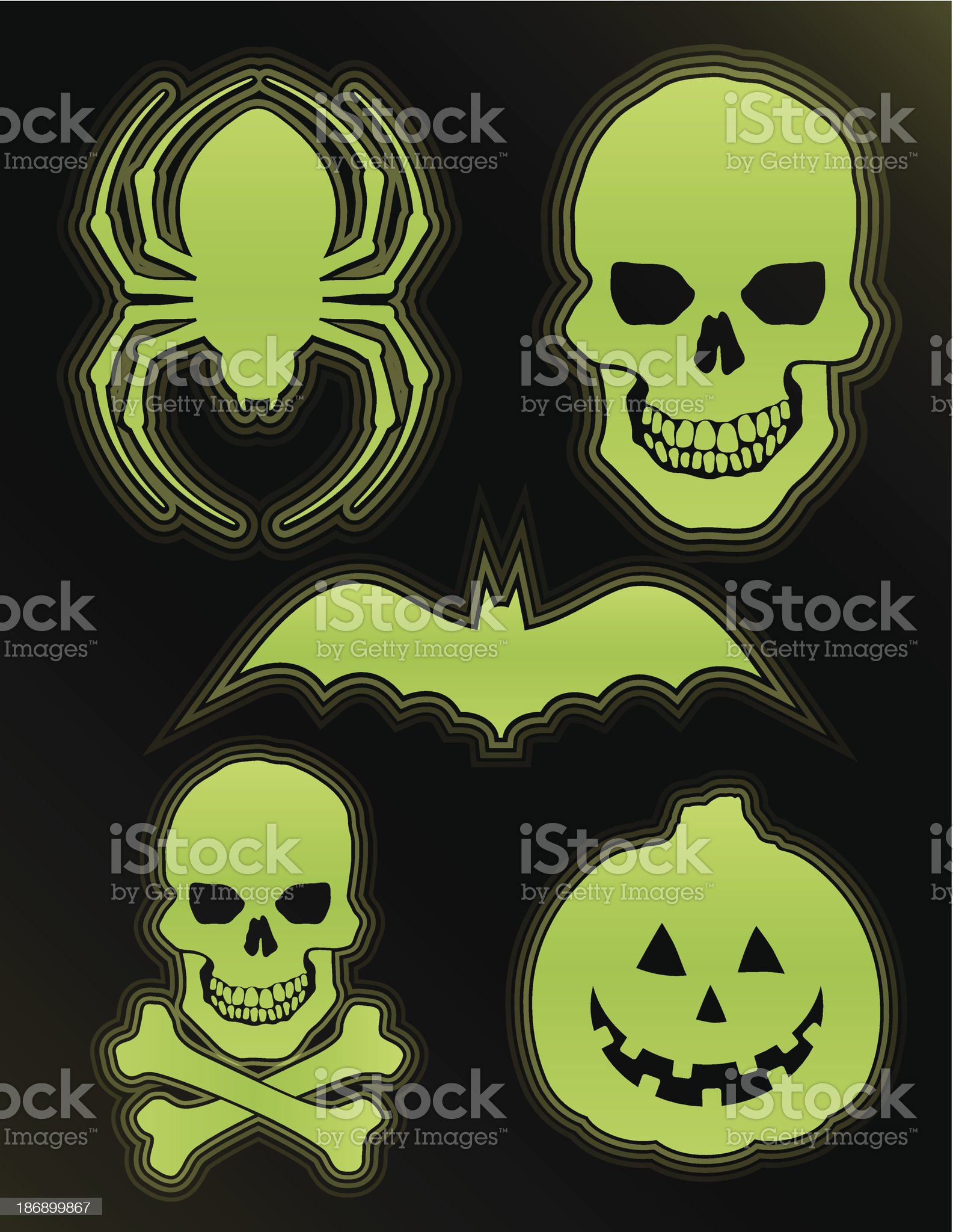 Glow in the Dark Halloween Icons royalty-free stock vector art