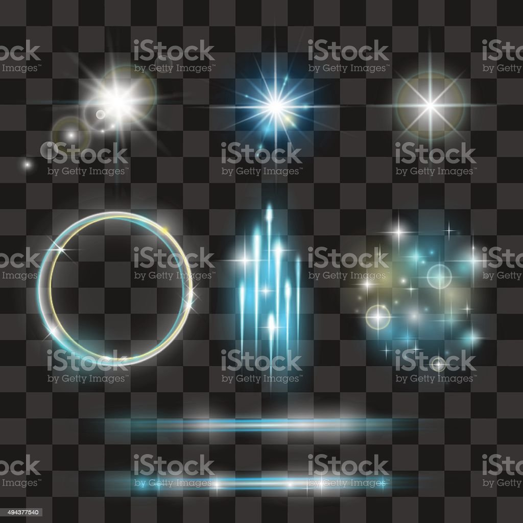 Glow light effect collection. vector art illustration
