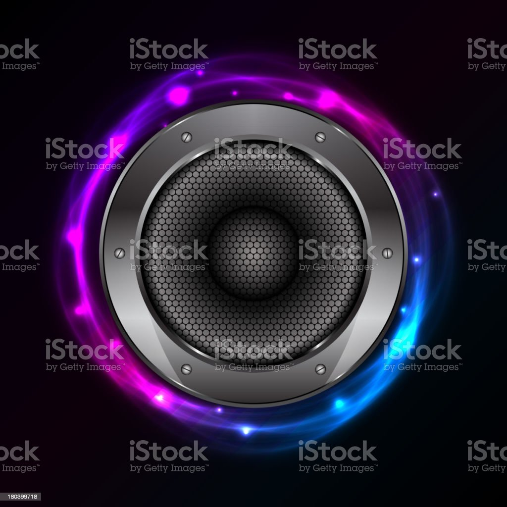 glowing background with Sound Speaker royalty-free stock vector art