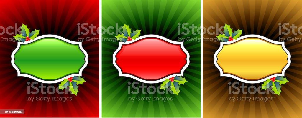 Glowing Blank christmas frames with mistletoe. royalty-free stock vector art