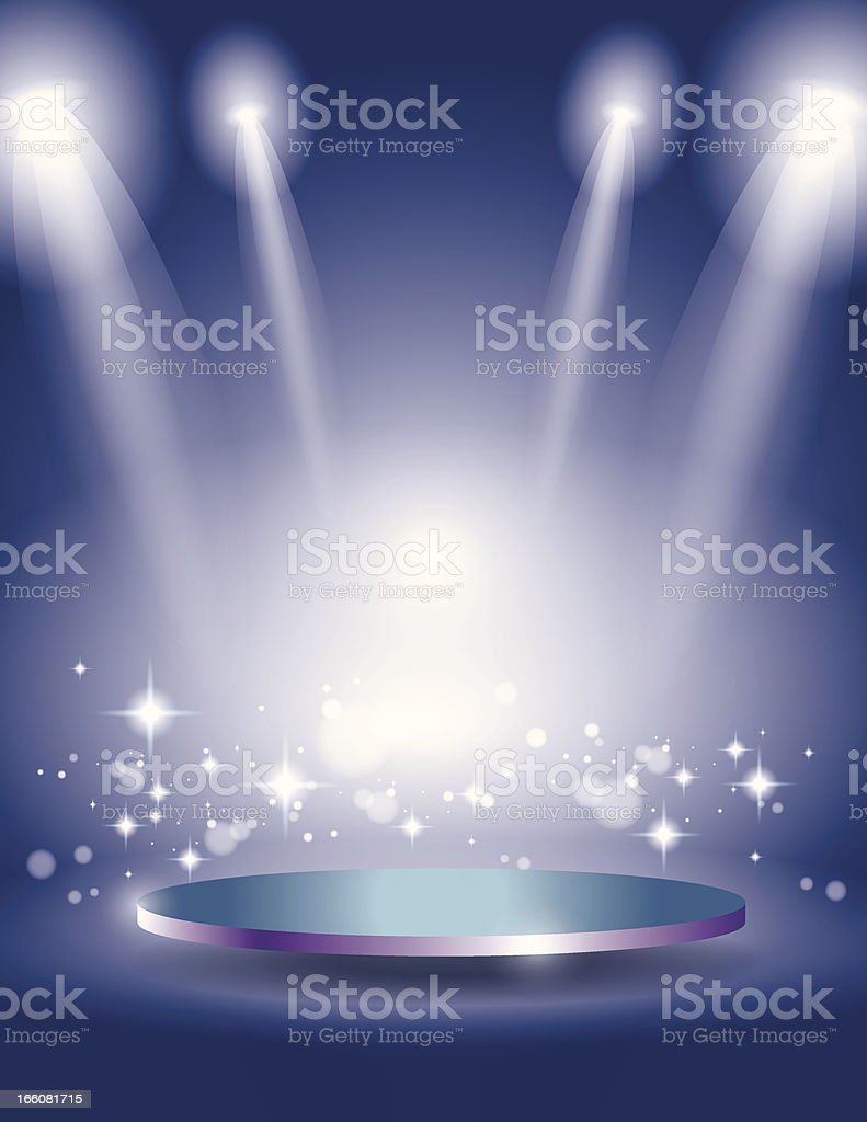 Glowing Blue Sparkle Stage Display vector art illustration