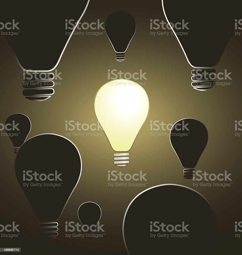 Glowing Bulb Surrounded by Dark Bulbs vector art illustration