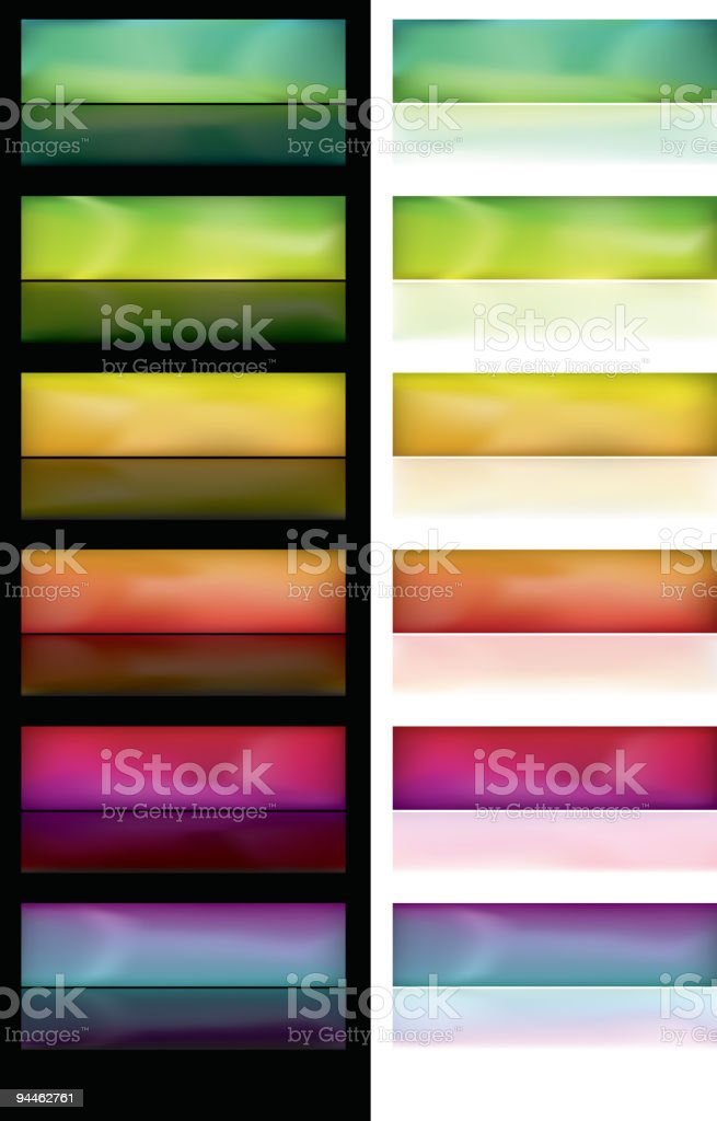 Glowing buttons with reflection royalty-free stock vector art