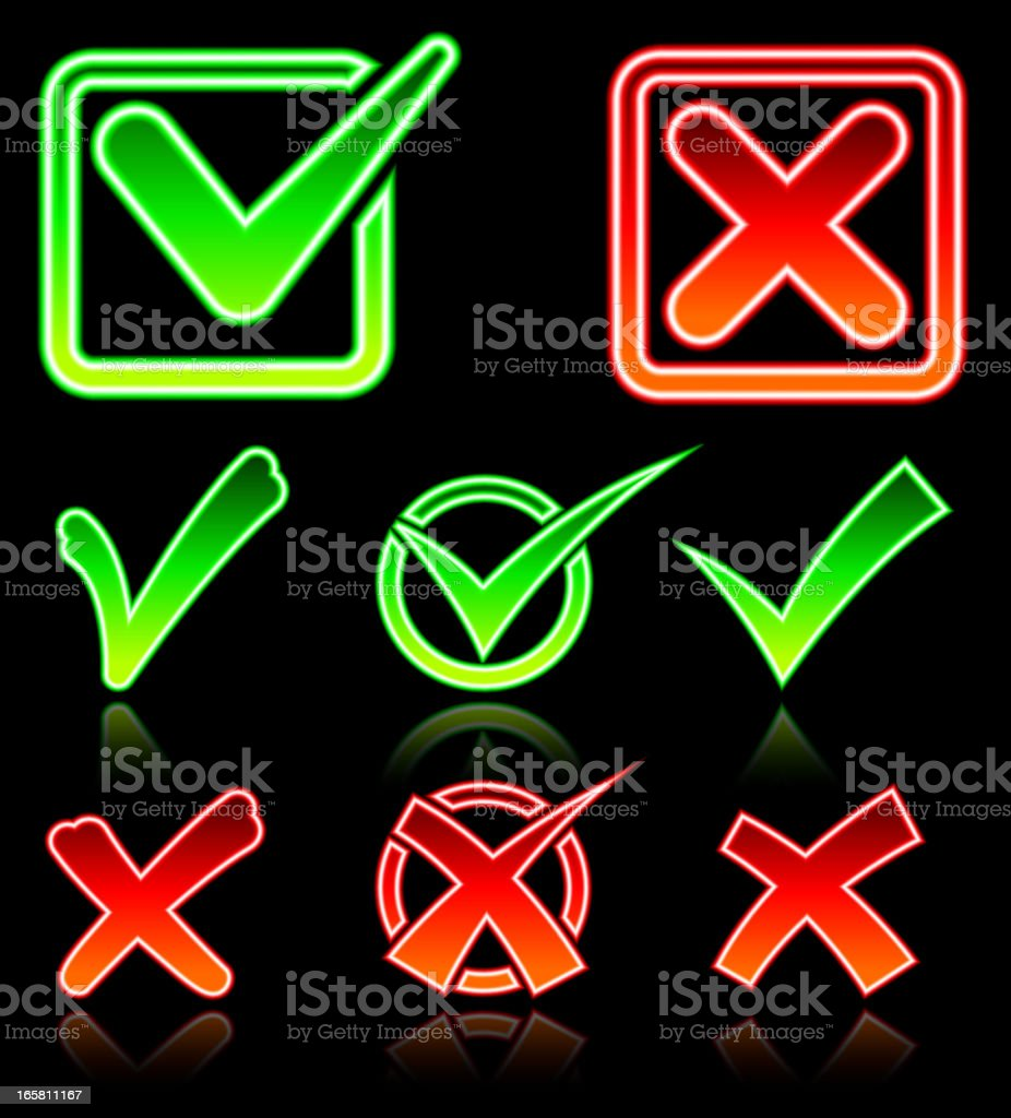 Glowing Check and X Mark on Black Background royalty-free stock vector art