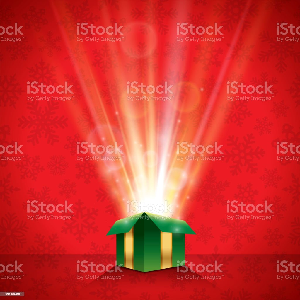 Glowing Christmas Gift Background vector art illustration