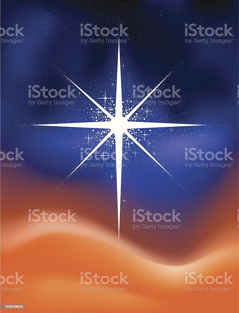 Glowing Christmas star vector art illustration