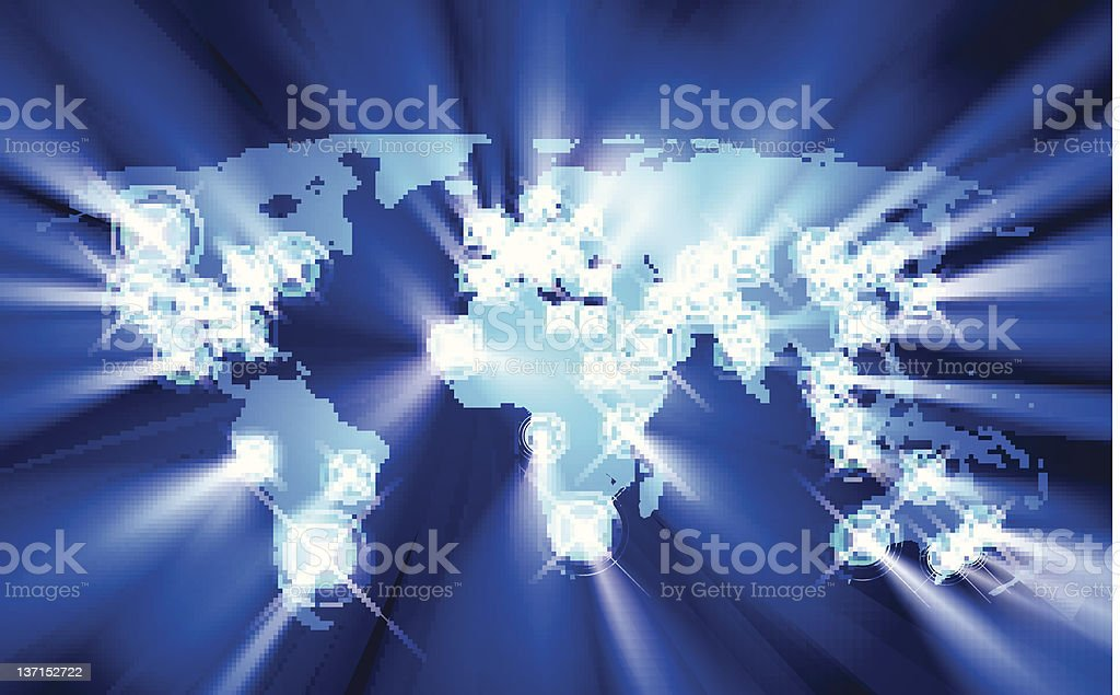 Glowing cities around the world royalty-free stock vector art