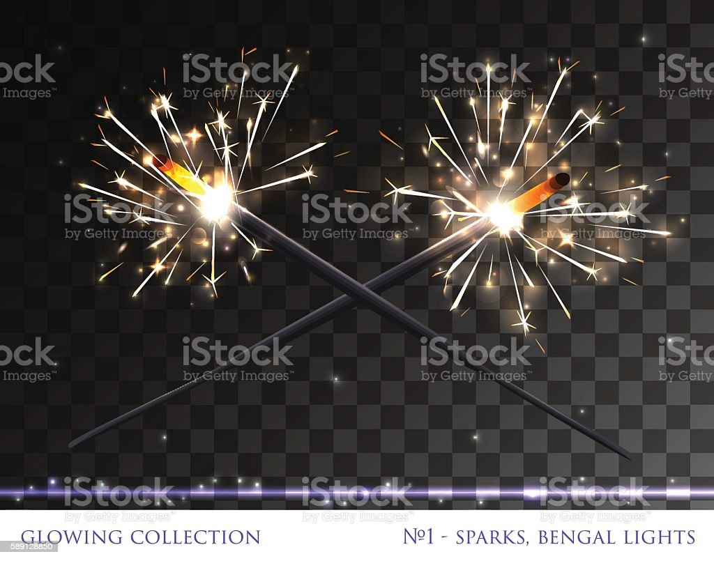 Glowing collection. Sparkling bengal fire vector art illustration