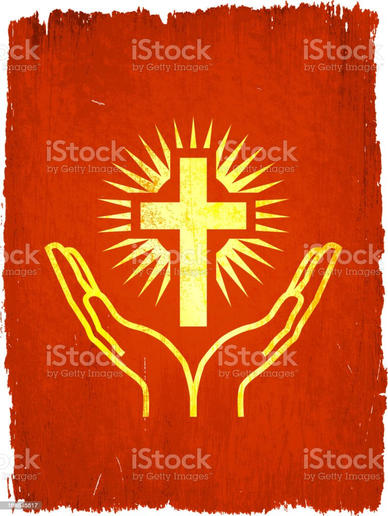 Glowing cross praise on royalty free vector Background royalty-free stock vector art