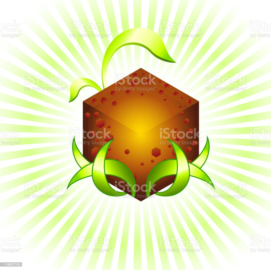 Glowing cube graphic design element with green leaves royalty-free stock vector art