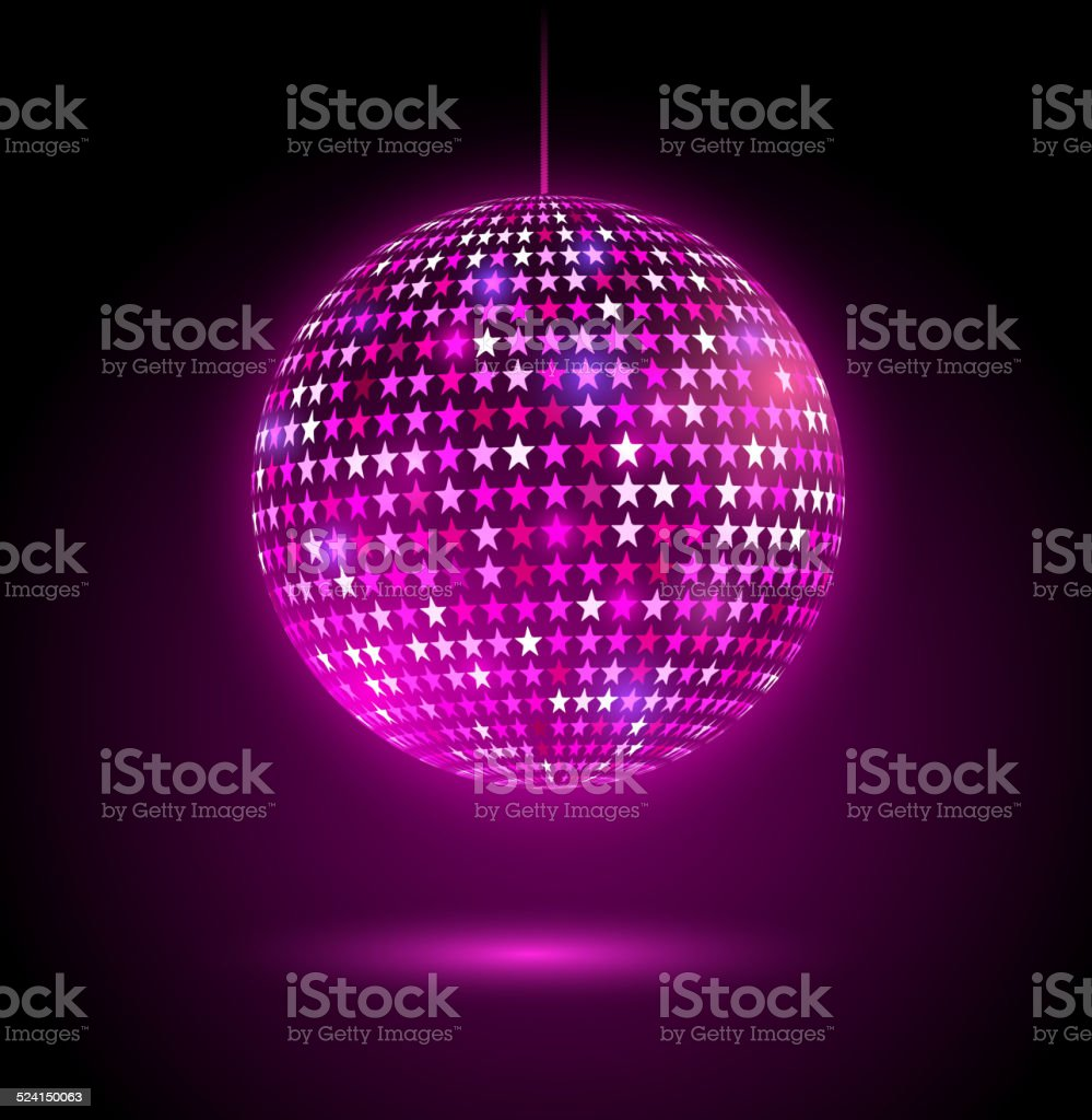 Glowing disco ball with stars. vector art illustration