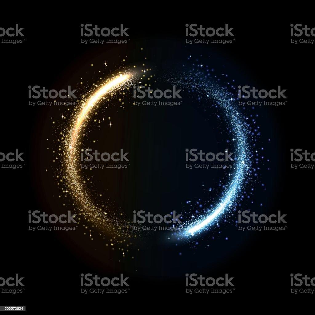 glowing dust from glittering stras vector art illustration