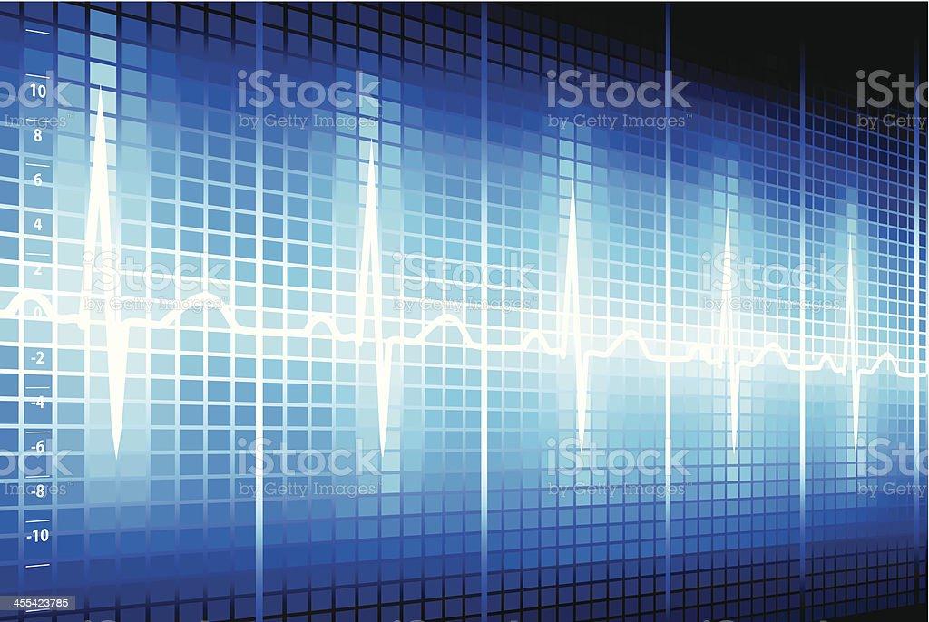 Glowing EKG strip vector art illustration