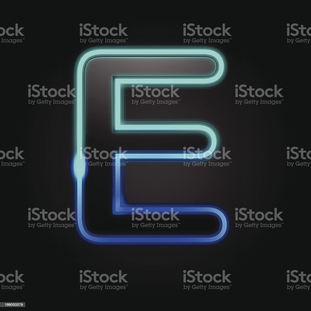 Glowing Font - E royalty-free stock vector art