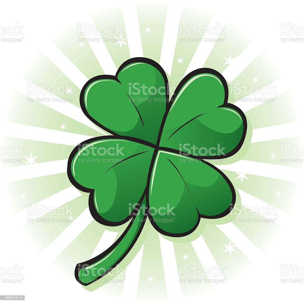 Glowing four leaf clover graphic vector art illustration