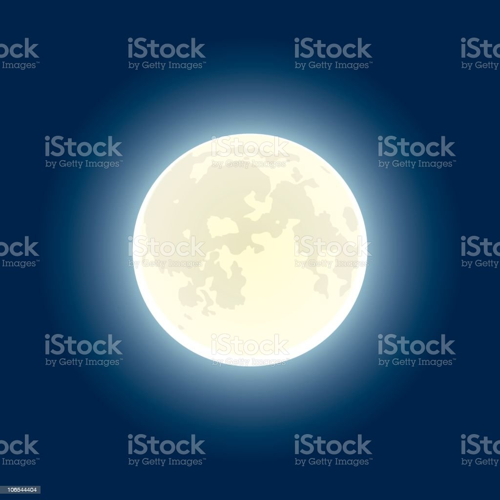 A glowing full moon against a navy blue background vector art illustration