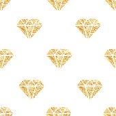 Glowing golden foil diamonds seamless vector pattern