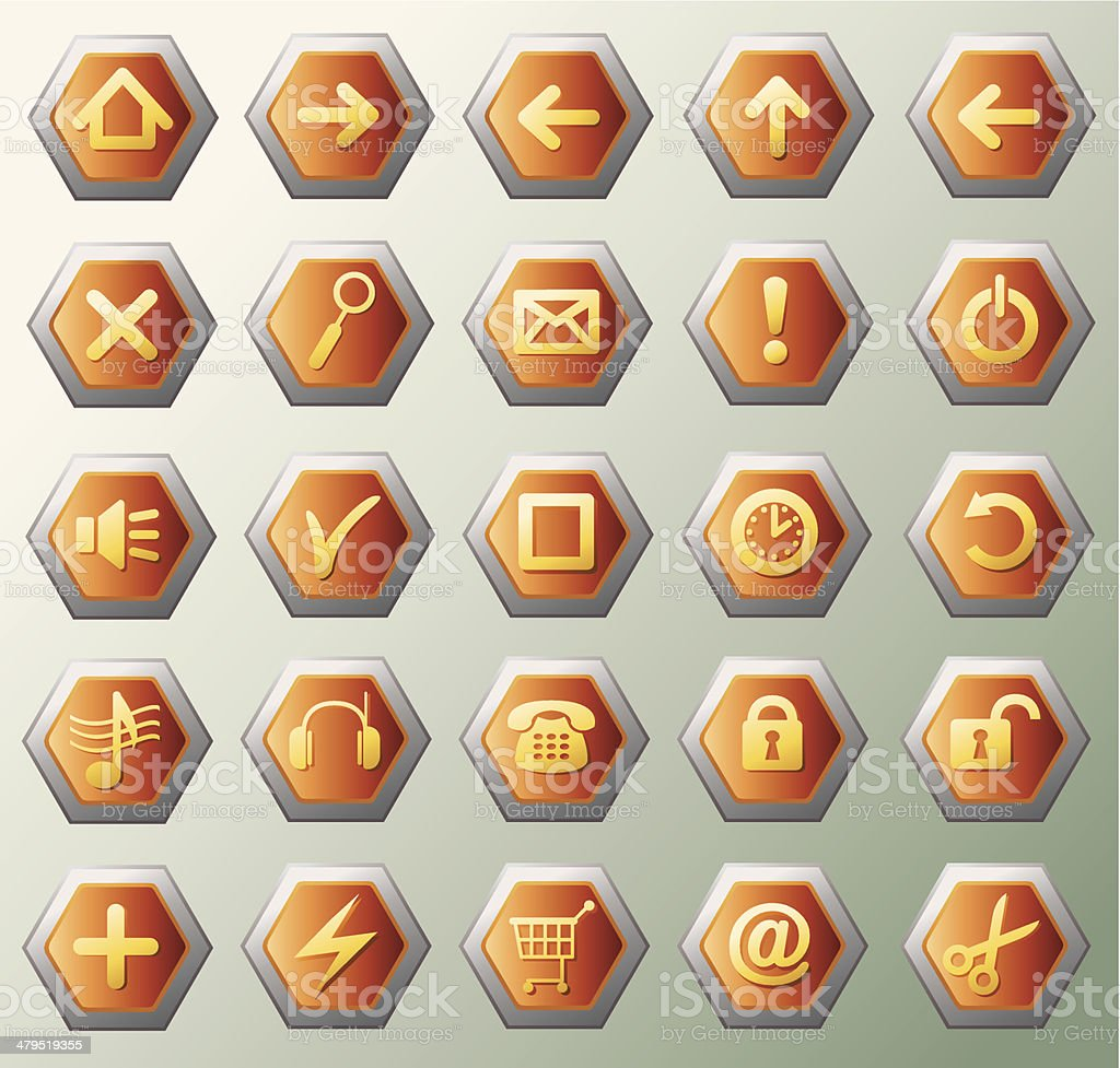 Glowing hexagon icons royalty-free stock vector art